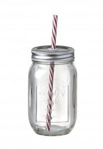 Vintage Style Glass Drinks Jar Bottle with Red/White Stripe Straw