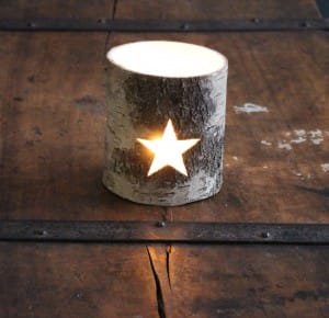 Silver birch star tea light holder