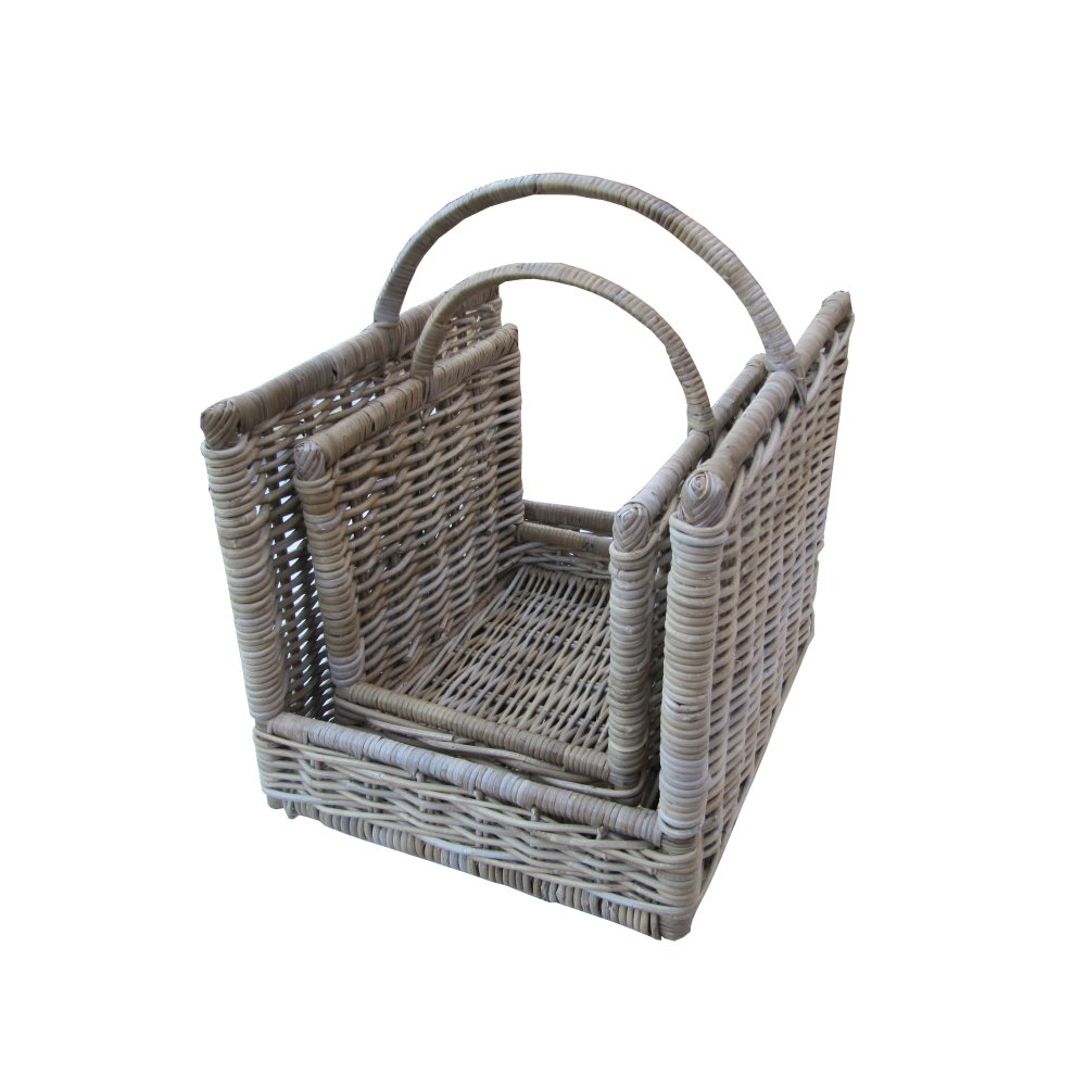 Grey Wicker Basket Uk : Grey buff rattan open ended wicker log basket