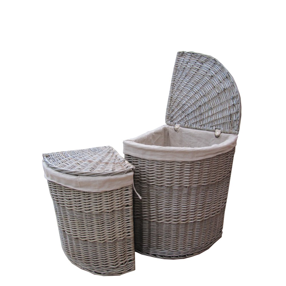 Superbe Antique Wash Wicker Corner Laundry Basket. Hover Over Image To Zoom.