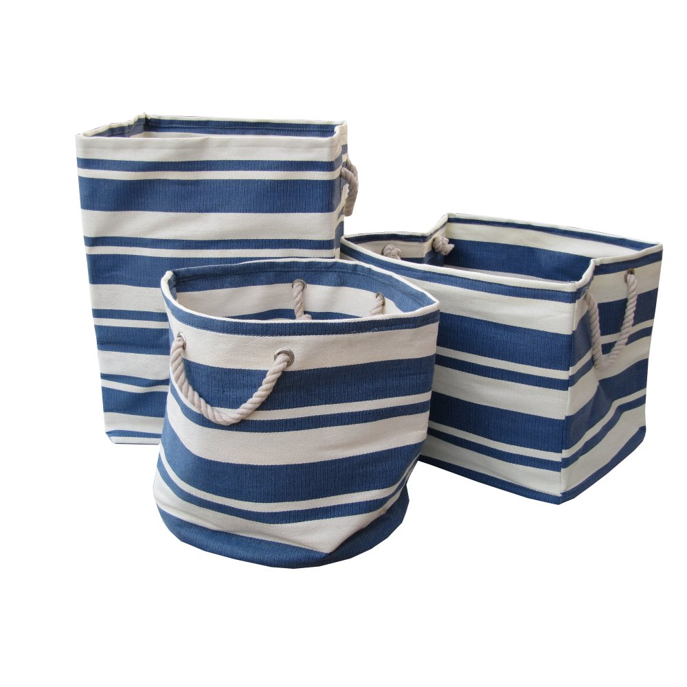 New England Blue U0026 White Stripe Canvas Bags   Square, Round Or Rectangular  ...