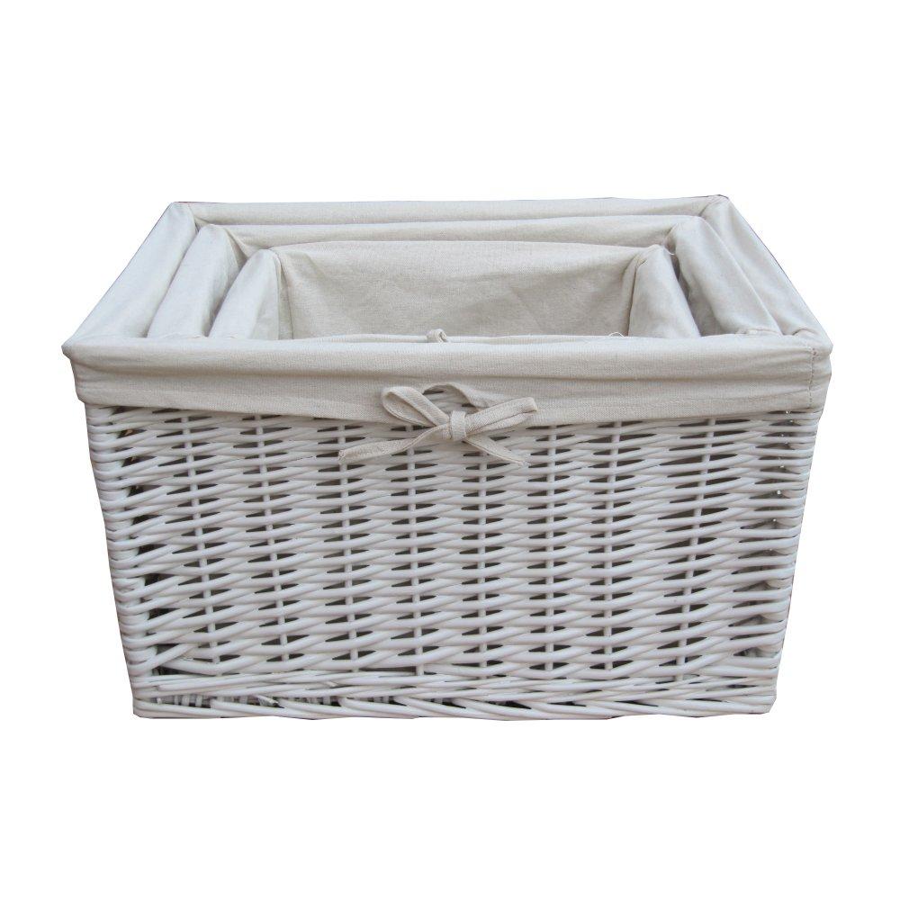 Buy Melbury Rectangular Wicker Storage Basket From The: White Wicker Rectangular Deep Storage Basket