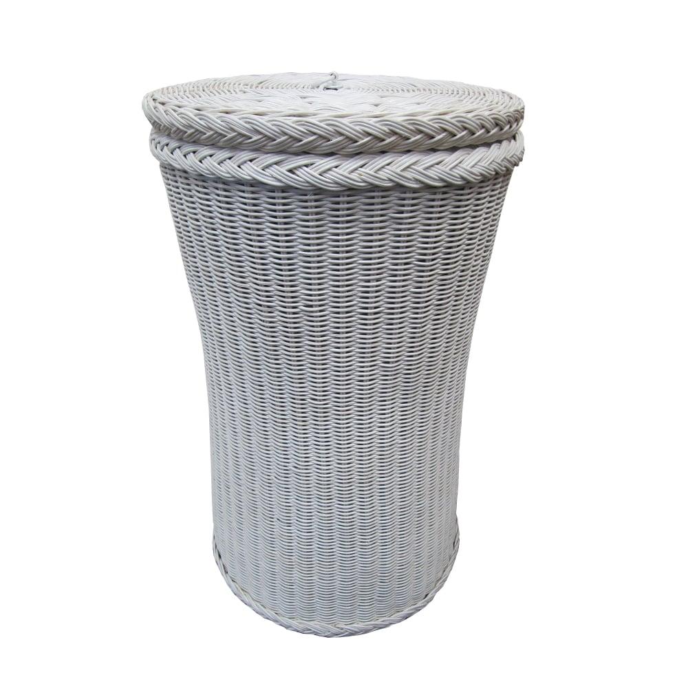 Tall Round Wicker Laundry Basket