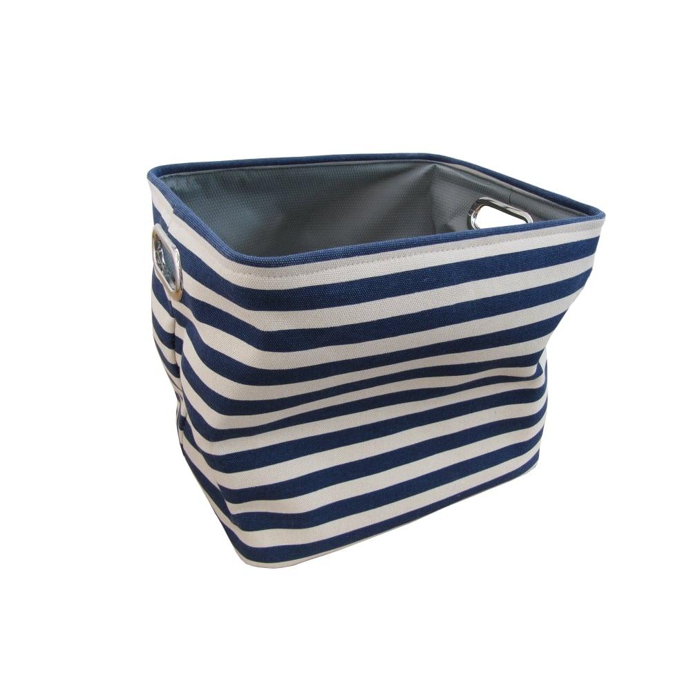 Buy navy stripe rectangular canvas storage basket for Navy bathroom bin