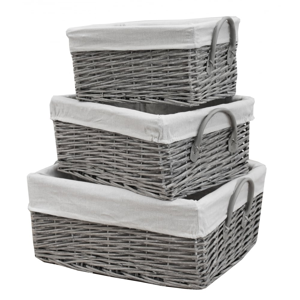 Etonnant Grey Wash Wicker Storage Basket With Handles. Hover Over Image To Zoom.