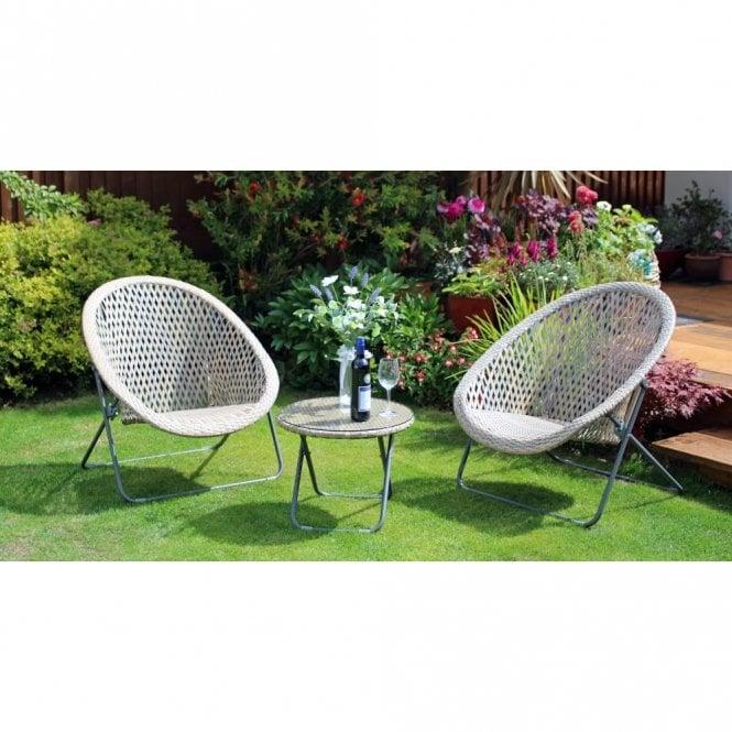 Buff Faux Rattan Garden Chair Table Set