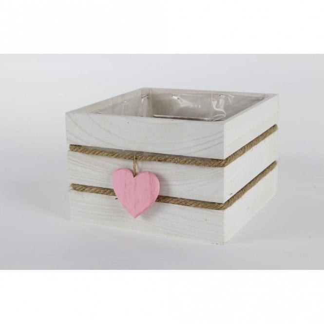 White Wash Wooden Square Planter With Pink Heart