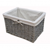 Grey Wash Rectangular Deep Wicker Storage Basket - Lined