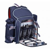 Navigate Coastal 4 Person Picnic Hamper Backpack - Navy Blue