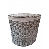 Antique Wash Wicker Corner Laundry Basket