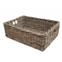 Rectangular Grey & Buff Rattan Wicker Storage Baskets - Empty Hamper Baskets