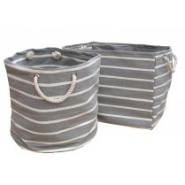 New England Grey & White Stripe Canvas Bags - Square, Round or Rectangular
