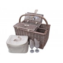 Deluxe Antique Wash 2 Person Wicker Picnic Basket