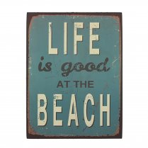 Life Is Good At The Beach Retro Style Metal Wall Art Sign