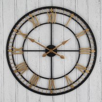 Large Antique Style Black & Gold Metal Round Skeleton Wall Clock