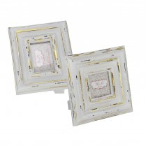 White & Gold Distressed Photo Frames - Square or Rectangular