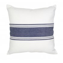 Ivory & Navy Blue Stripe Coastal Design Square Cushion (45cm x 45cm)