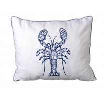 White & Navy Blue Lobster Design Rectangular Cushion (40cm x 50cm)