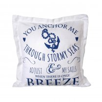 White & Navy Blue Anchor Design Square Cushion (40cm x 40cm)
