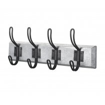 Silver & Black Metal 4 Coat Hook