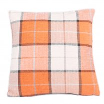 Highland Plaid Square Cushion - Orange 45cm x 45cm