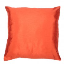 Rust Orange Faux Silk Dupion Square Cushion 43cm x 43cm