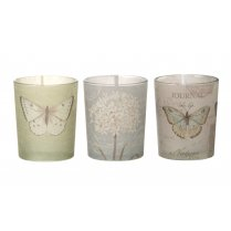 Vintage Style Butterfly Tea Light Holders - Set of 3