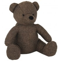 Dark Brown Teddy Doorstop - Fabric Covered and Weighted
