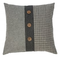 Grey Tweed Twist Large Square Buttoned Cushion 55cm x 55cm