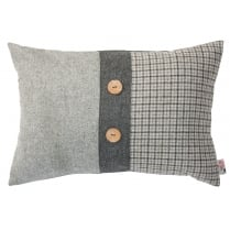 Grey Tweed Twist Large Rectangular Buttoned Cushion 40cm x 60cm