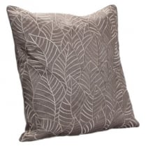 Embroided Leaves on Faux Silk Square Taupe Cushion 43cm x 43cm