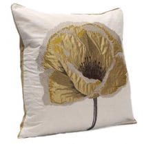 Green Poppy Embroided Square Cushion - 43cm x 43cm