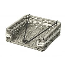 Grey & White Polywicker Napkin Holder Basket