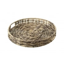 Polywicker Brown Round Tray Basket