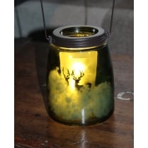 Glass Jar with LED Christmas Stag Design