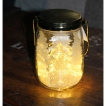 LED Christmas Tree Jar with Gold Lid (D12x16)