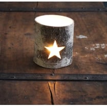 Silver Birch Star Tea Light Holder