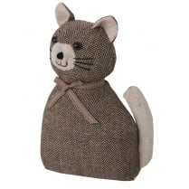 Beige Pussy Cat Doorstop - Fabric Covered and Weighted