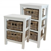Antique White Wooden 2 or 3 Drawer Unit with Wicker Rattan Baskets