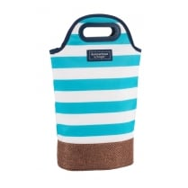 Coast Insulated Twin Bottle Cooler Carrier by Navigate - Aqua Blue & White Stripe