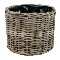 Grey & Buff Rattan Round Wicker Planter
