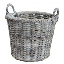 Whitewash Rattan Round Wicker Storage Basket