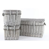 Grey Wash Wicker Storage Trunk with Rope Handles - Square or Rectangular