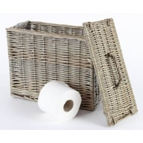 Antique Wash Wicker Toilet Roll Basket Holder