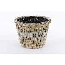 Grey & Buff Round Rattan Tapered Plant Pot