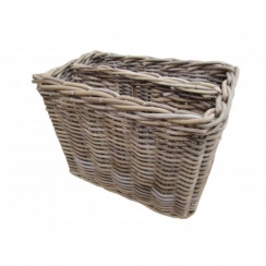 Wicker Grey & Buff Rattan Magazine Holder | Storage Basket