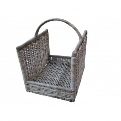 Grey & Buff Rattan Open Ended Wicker Log Basket