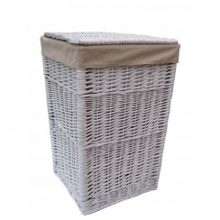 Square White Wicker Laundry Basket