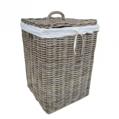 Grey & Buff Square Rattan Laundry Basket