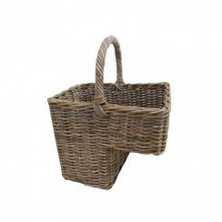 Grey & Buff Rattan Wicker Stair Basket